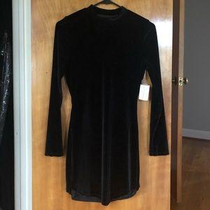 Windsor Black Velvet Long-Sleeve Minidress